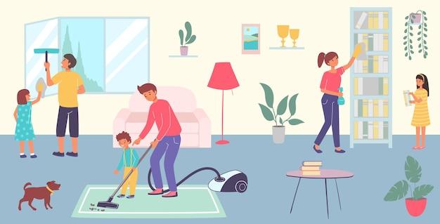 Vriendelijke vrolijke familie bij elkaar schone kamer huis