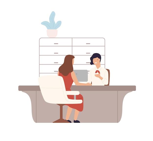 Vriendelijke vrouwelijke bankmedewerker die diensten verleent aan klant vlakke afbeelding