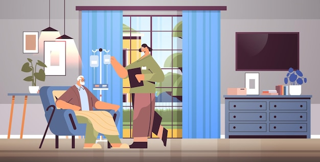 Vriendelijke vrouwelijke verpleegster of vrijwilliger die druppelaar van oudere man controleert patiënt thuiszorg diensten gezondheidszorg en sociale ondersteuning concept verpleeghuis interieur horizontaal volledige lengte