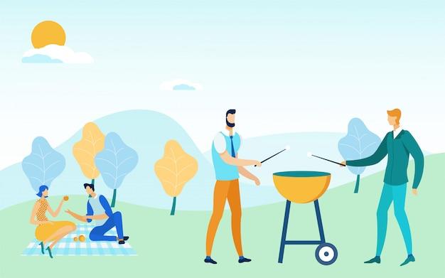 Vrienden barbecuepartij, picknick in het park, tuin.