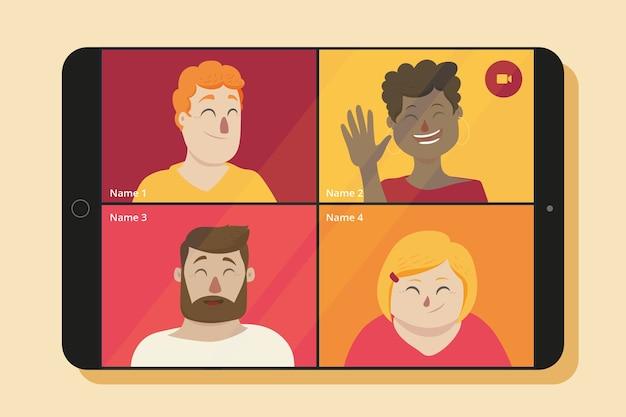 Vrienden chatten via videogesprek