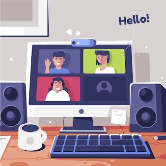Vrienden computer videobellen