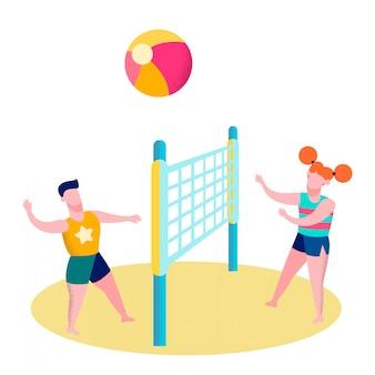 Vrienden die de vlakke illustratie van het strandvolleyball spelen