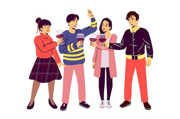 Vrienden die illustratieconcept roosteren