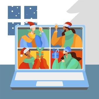 Vrienden die kerstmis online vieren wegens geïllustreerde pandemie