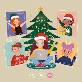 Vrienden die kerstmis online vieren