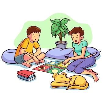 Vrienden die ludo-spel en hond spelen