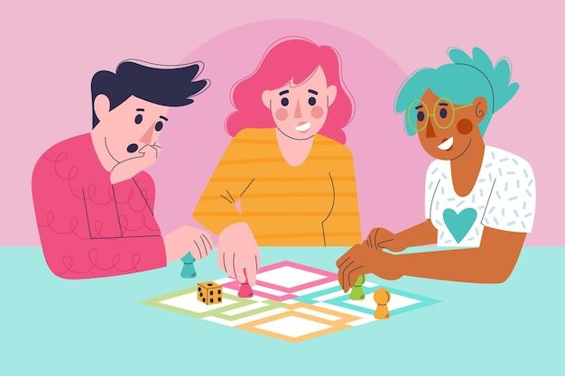 Vrienden die ludo-spel spelen
