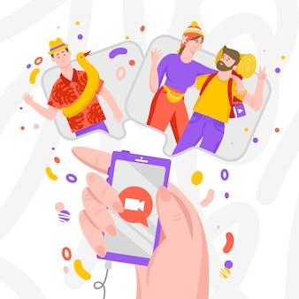 Vrienden die online videobellen concept babbelen