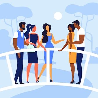 Vrienden die op brug vlakke illustratie samenkomen