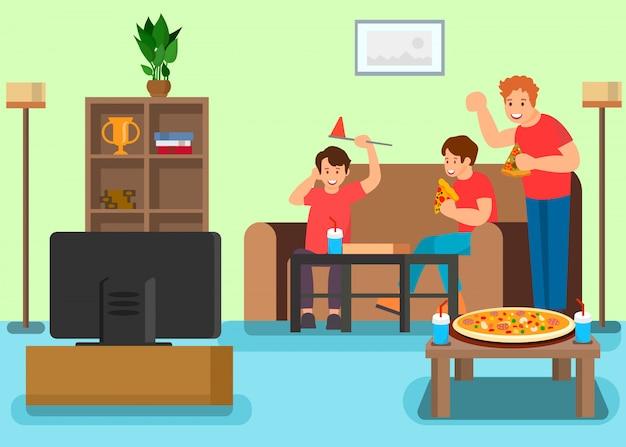 Vrienden die op televisie vectorillustratie letten
