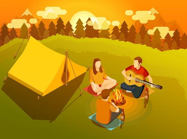 Vrienden die rond de isometrische illustratie van het kampvuur zingen