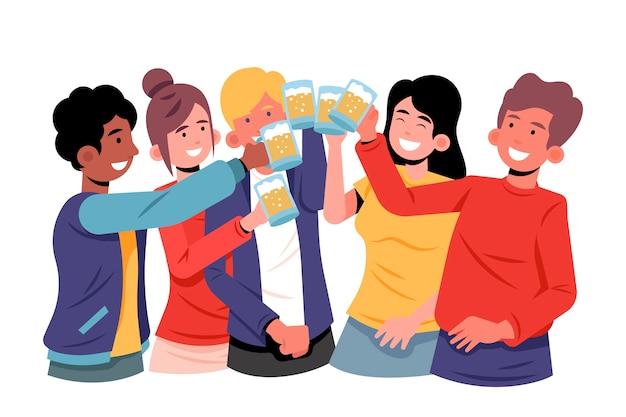 Vrienden die samen concept roosteren