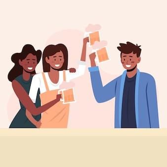 Vrienden die samen illustratie roosteren