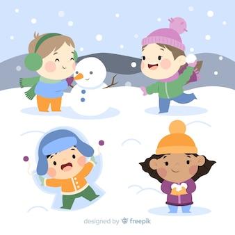 Vrienden die sneeuwachtergrond spelen