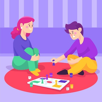 Vrienden die thuis ludo-spel spelen