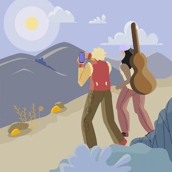 Vrienden die van de illustratie van het aardlandschap genieten