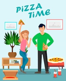 Vrienden die van pizza vlakke vectorillustratie genieten