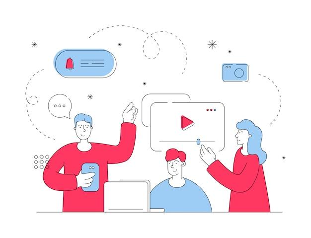 Vrienden die video's bekijken en online reacties achterlaten