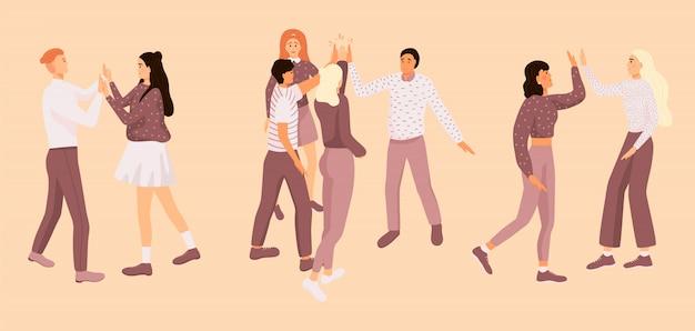 Vrienden doen high five.