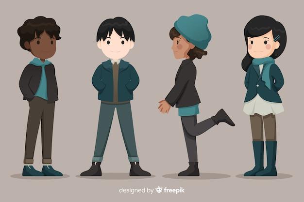 Vrienden dragen warme kleding