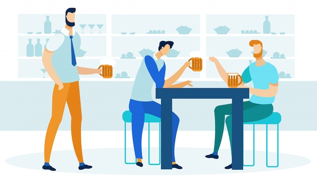 Vrienden drinken bier plat