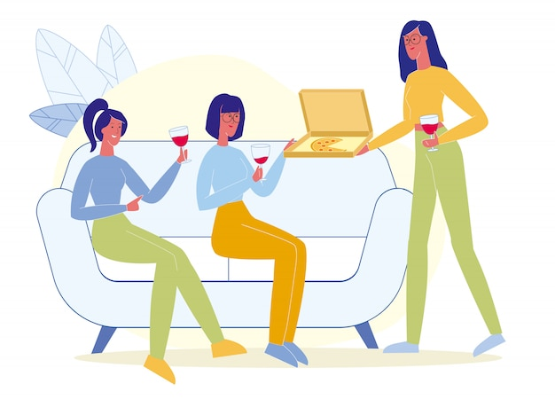 Vrienden drinken wijn, eten pizza plat