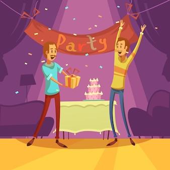 Vrienden en partijachtergrond met cakedecoratie en cadeaus