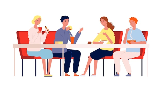 Vrienden eten. gelukkige mensen ontmoeten elkaar en hebben een diner aan de tafel in het restaurant