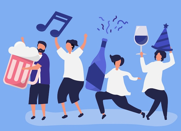 Vrienden feesten en verschillende drankjes drinken