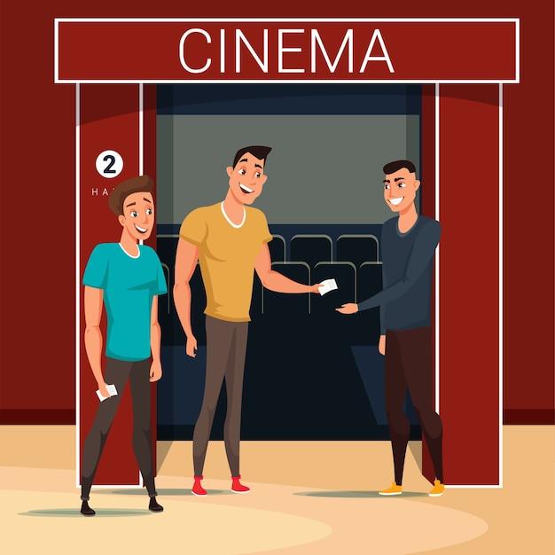 Vrienden gaan naar bioscoop illustratie, werknemer stripfiguur tickets controleren.