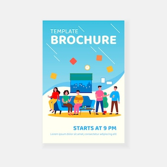 Vrienden genieten van studentenfeest in appartement brochure sjabloon
