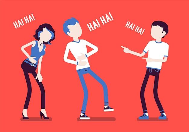 Vrienden grappen en lachen. gelukkige jongens en jonge meisjes genieten samen van grappige, vriendelijke grappen, plezier, amusement, diepe hartelijke buiklach met positieve humor. vectorillustratie, gezichtsloze karakters