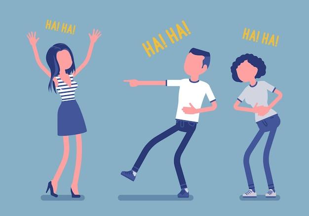 Vrienden grappen en lachen. gelukkige meisjes en jonge jongens genieten samen van grappige, vriendelijke grappen, plezier, amusement, diepe hartelijke buiklach met positieve humor. vectorillustratie, gezichtsloze karakters