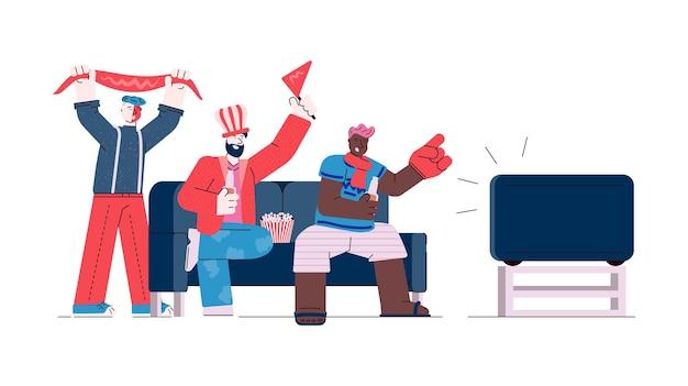 Vrienden groep tv kijken sport wedstrijd schets vectorillustratie geïsoleerd