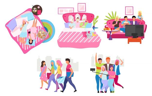 Vrienden groeperen platte illustraties set. jongeren tijd doorbrengen, stripfiguren samen ontmoeten. mannelijke en vrouwelijke vriendschap. studenten, meisjes en jongens die selfie nemen, wandelen, pizza eten
