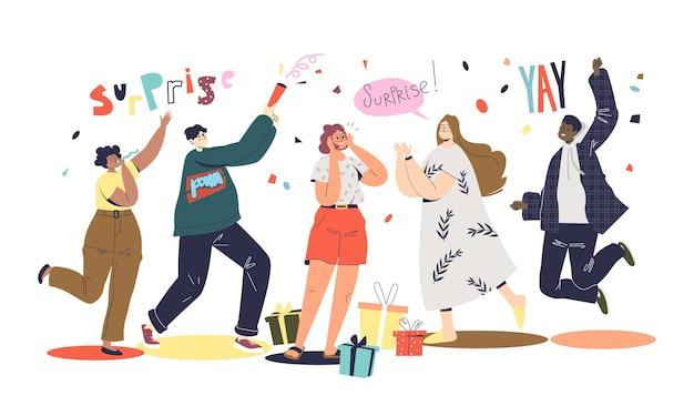 Vrienden groeten meisje met vakantie of verjaardag op verrassingsfeestje.