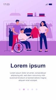 Vrienden helpen gehandicapte man in kleding winkel illustratie