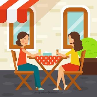 Vrienden in een restaurant achtergrond Gratis Vector