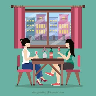 Vrienden in een restaurant achtergrond