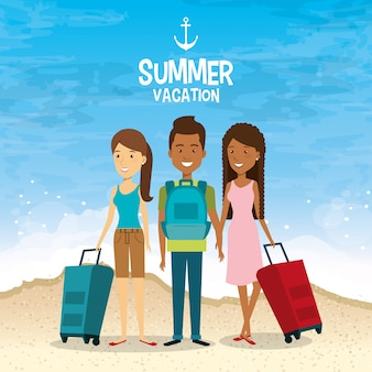 Vrienden in het strand zomervakanties
