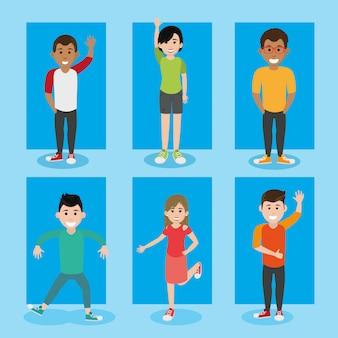 Vrienden jeugd gelukkige mensen cartoon