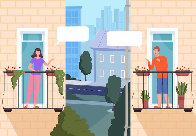 Vrienden kijken uit ramen en praten