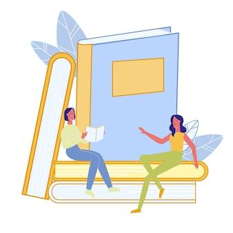 Vrienden lezen boeken platte vectorillustratie