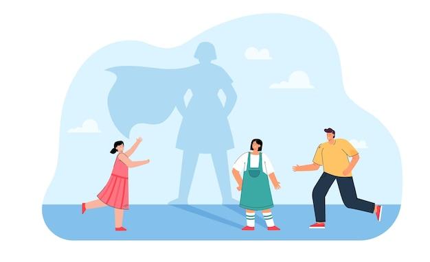 Vrienden lopen naar cartoon meisje met superheld schaduw. schaduw van vrouwelijk personage met een platte afbeelding van een cape