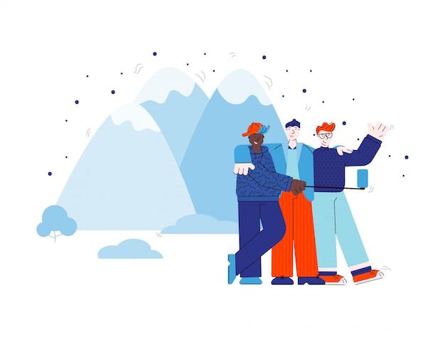 Vrienden maken selfie in bergen schets cartoon afbeelding geïsoleerd.
