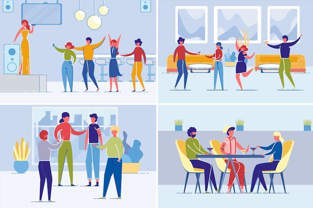Vrienden of collega's groeperen samen tijd doorbrengen