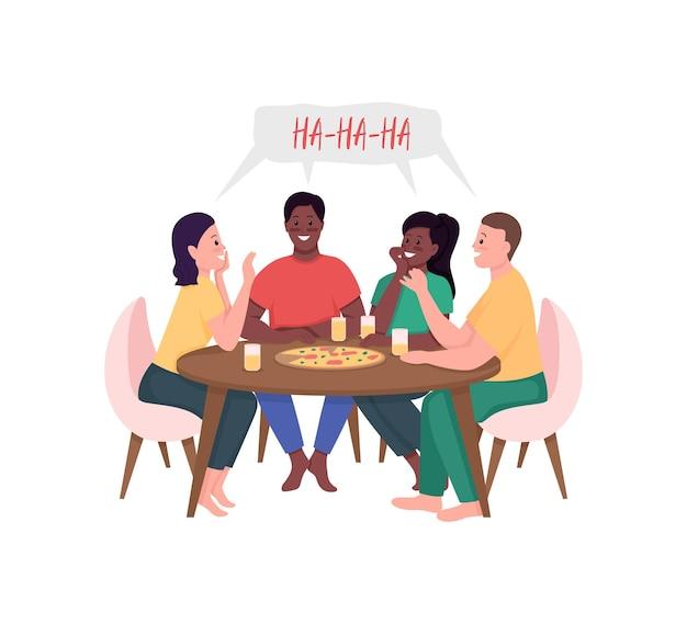 Vrienden ontmoeten elkaar over pizza egale kleur illustratie