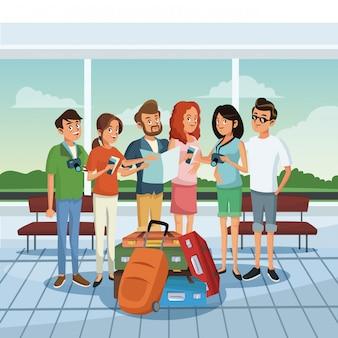 Vrienden op de luchthaven