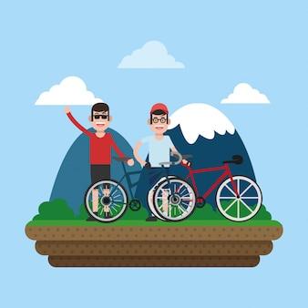 Vrienden op fietsen